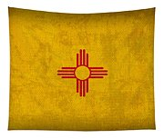New Mexico State Flag Art On Worn Canvas Tapestry