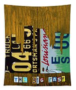 New Orleans Louisiana City Skyline Vintage License Plate Art On Wood Tapestry by Design Turnpike