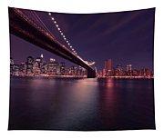 New York Brooklyn Bridge At Night Tapestry