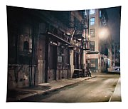New York City Alley At Night Tapestry