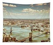 New York City - Brooklyn Bridge And Manhattan Bridge From Above Tapestry