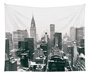 New York City - Snow-covered Skyline Tapestry