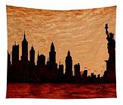 New York City Sunset Silhouette Tapestry