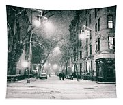 New York City - Winter Night In The West Village Tapestry