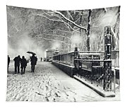 New York City - Winter - Snow At Night Tapestry