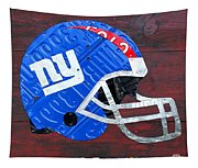 New York Giants Nfl Football Helmet License Plate Art Tapestry