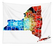 New York - Map By Sharon Cummings Tapestry