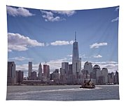 New York Skyline And Boat Tapestry