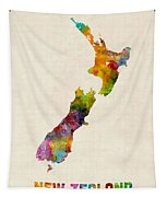 New Zealand Watercolor Map Tapestry
