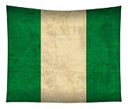 Nigeria Flag Vintage Distressed Finish Tapestry