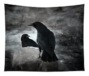 Mysterious Night Crows Tapestry