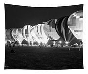 Night Glow Hot Air Balloons Bw Tapestry