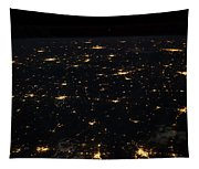Night Time Satellite Image Of Cities Tapestry