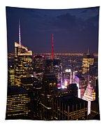 Night View Of New York Tapestry