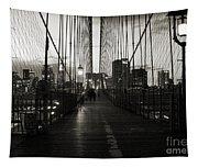 Nightfall On The Brooklyn Bridge Tapestry