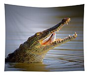 Nile Crocodile Swollowing Fish Tapestry