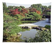 Ninna-ji Temple Garden And Pond - Kyoto Japan Tapestry