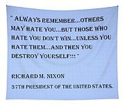 Nixon Quote In Cyan Tapestry
