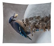 Blue Jay Finds A Peanut Tapestry