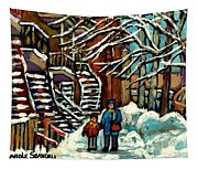 No School Today Out For A Snowy Walk Verdun Winter Winding Staircases Montreal Paintings C Spandau Tapestry