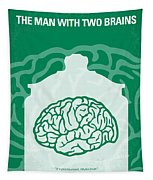 No390 My The Man With Two Brains Minimal Movie Poster Tapestry