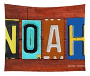 Noah License Plate Name Sign Fun Kid Room Decor. Tapestry