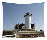 Nobska Lighthouse On Cape Cod At Woods Hole Massachusetts Tapestry