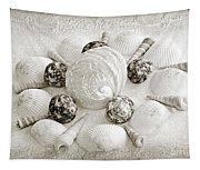 North Carolina Circle Of Sea Shells Bw Tapestry