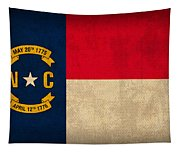 North Carolina State Flag Art On Worn Canvas Tapestry