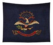 North Dakota State Flag Art On Worn Canvas Tapestry