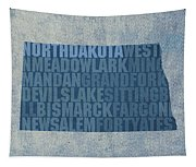 North Dakota Word Art State Map On Canvas Tapestry