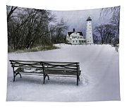 North Point Lighthouse And Bench Tapestry