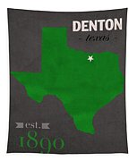 North Texas University Mean Green Denton College Town State Map Poster Series No 078 Tapestry