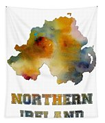 Northern Ireland Watercolor  Map Tapestry