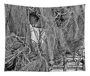 Nothing But Net Black And White Tapestry