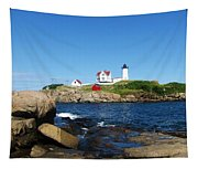 Nubble Light House York Beach Maine 2 Tapestry