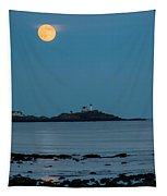 Nubble Lighthouse Under Full Moon Tapestry