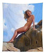Nude On The Rocks Tapestry