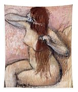 Nude Seated Woman Arranging Her Hair Femme Nu Assise Se Coiffant Tapestry