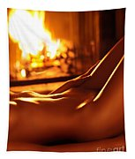 Nude Shiny Woman Body In Front Of Fireplace Tapestry
