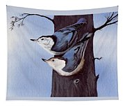Nuthatch Pair Tapestry