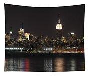 Nyc Skyline At Night Tapestry