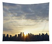 Nyc Sunrise Panorama Tapestry