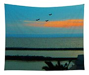 Ocean Sunset With Birds Tapestry