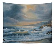 Ocean Under The Evening Glow Tapestry