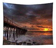Oceanside Pier Perfect Sunset Tapestry