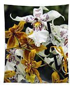 Gold And White Orchids Tapestry