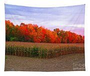 October Sunset On The Autumn Woods Tapestry