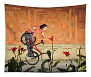 Oh A Pretty Flower - Funny Bmx Flatland Pic With Monika Hinz Tapestry