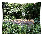 Oil Painting - A Number Of Flamingos Surrounded By Greenery In Their Enclosure  Tapestry
